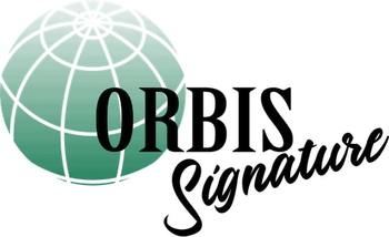 Orbis Signature logo has a green sphere with latitude and longitude lines